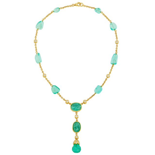 Gold, Tumbled and Carved Emerald Bead and Diamond Pendant Chain Necklace, Tambetti