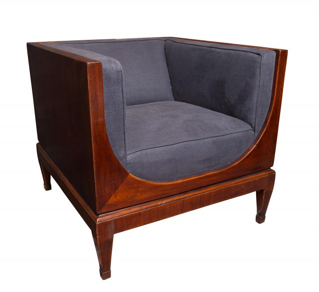Contemporary Upholstered Mahogany Club Chair