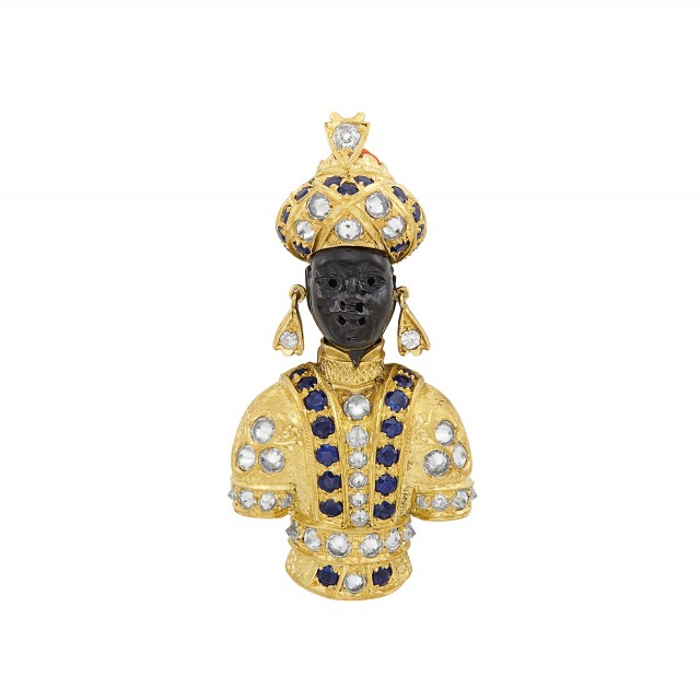 Gold, Carved Ebony, Diamond, Sapphire and Fluted Coral Blackamoor Clip, Nardi