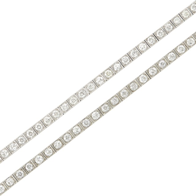 Two Platinum and Diamond Straightline Bracelets