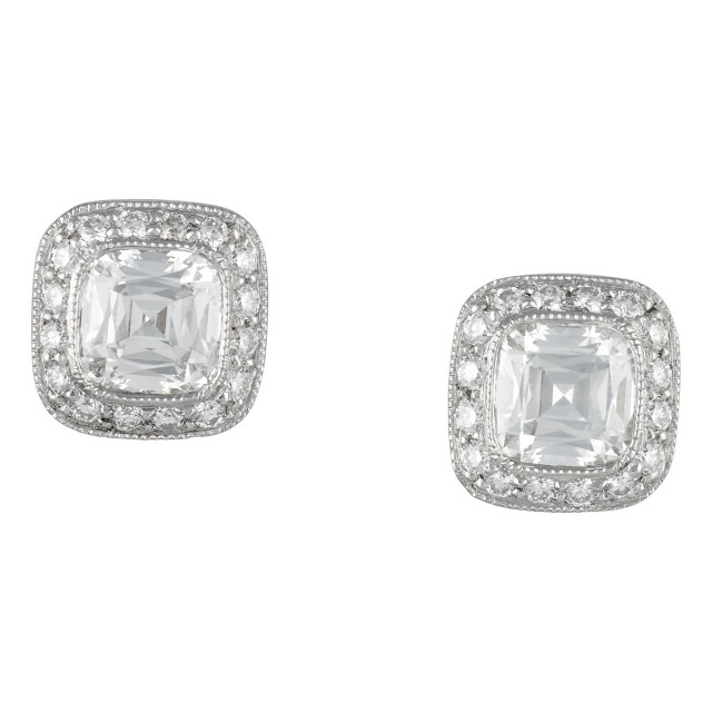 Pair of Platinum and Diamond Stud Earrings, Tiffany and Co.