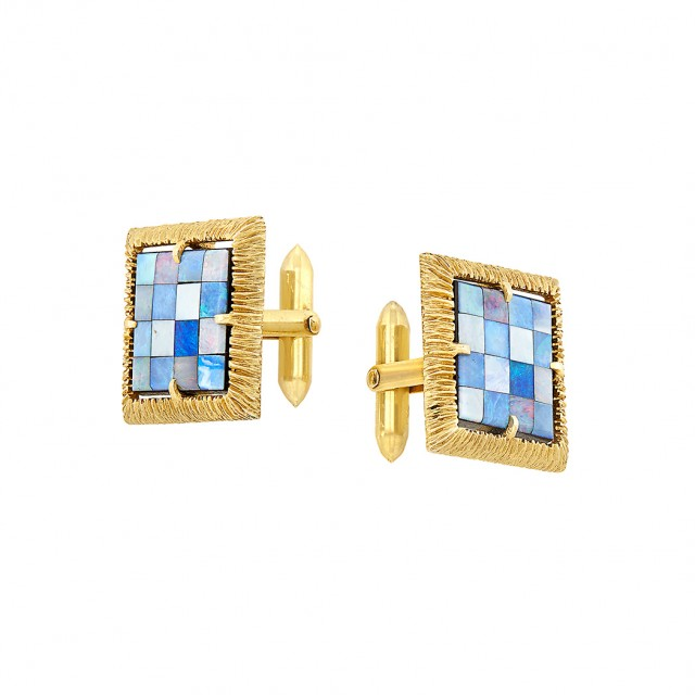 Pair of Gold and Opal Doublet Checkerboard Cufflinks