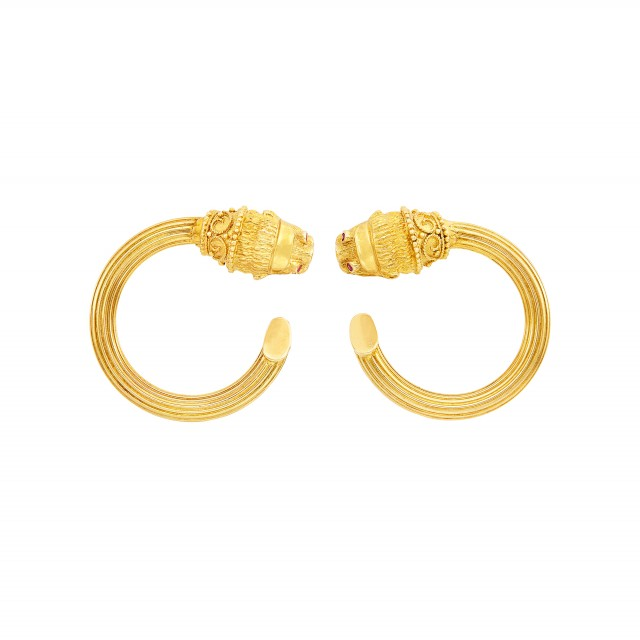 Pair of Gold Hoop Earclips, Ilias Lalaounis