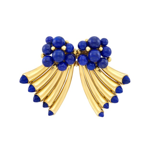 Retro Gold and Lapis Double Clip-Brooch, Cartier, Paris