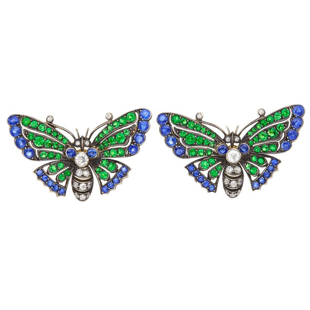 Pair of Gold, Silver, Sapphire, Tsavorite Garnet and Diamond Butterfly Pins