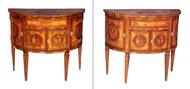 Pair of Italian Neoclassical Style Walnut and Marquetry Demilune Side Cabinets