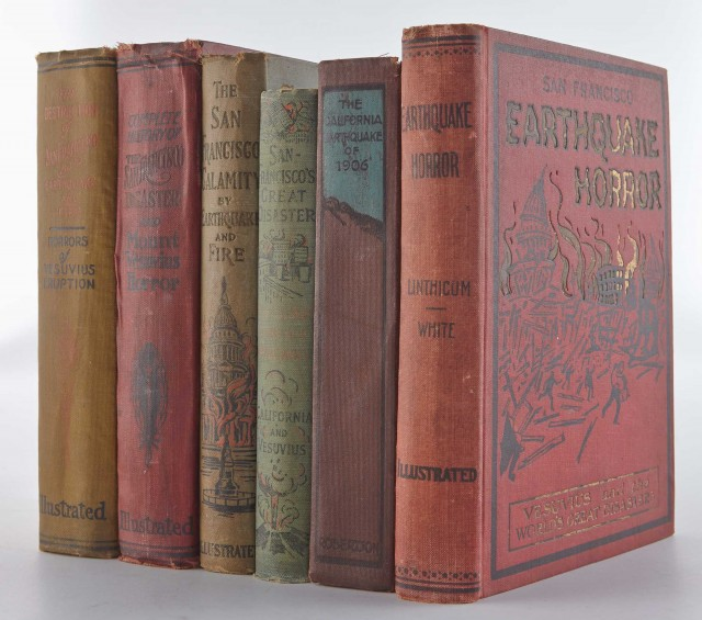 [SAN FRANCISCO EARTHQUAKE]  Group of books related to the earthquake in San Francisco in 1906.