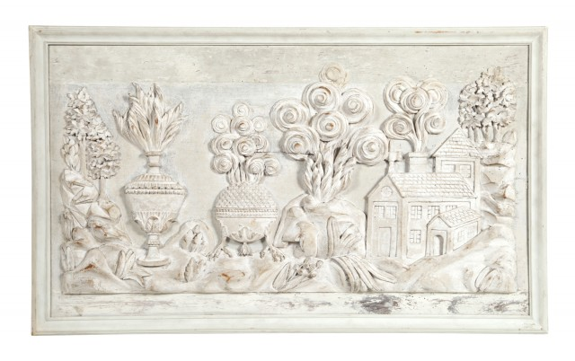 Continental Neoclassical Grey-Painted Boiserie Panel