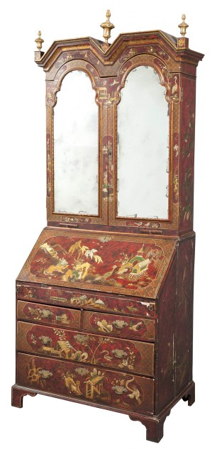 Queen Anne Style Red-Japanned and Parcel-Gilt Bureau Cabinet