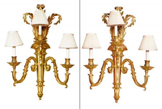 Pair of Large Louis XVI Style Gilt-Brass Three-Light Sconces
