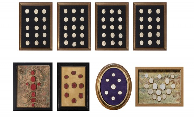 Assembled Set of Eight Framed Seal Impressions
