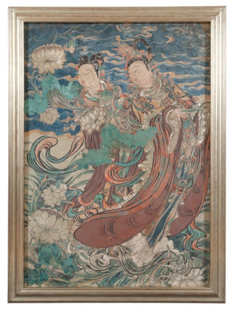 Chinese Painted Stucco Wall Panel of Two Celestial Attendants