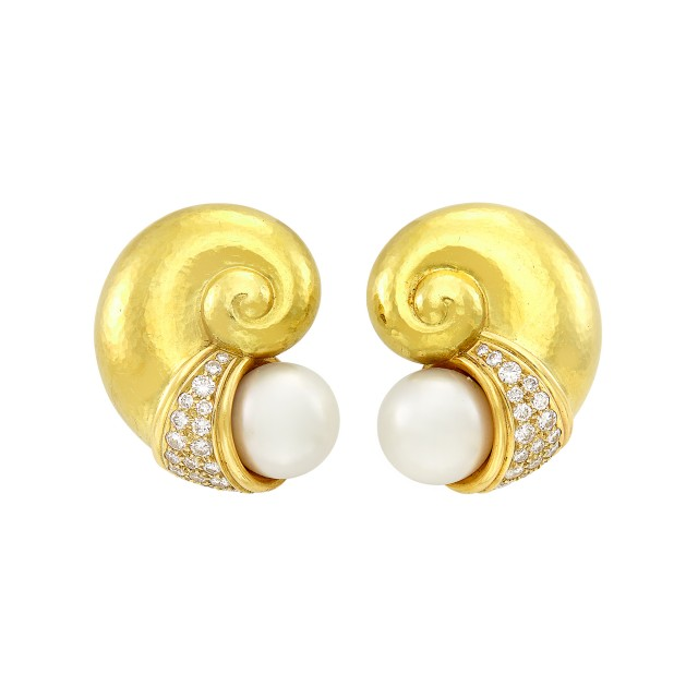 Pair of Hammered Gold, South Sea Cultured Pearl and Diamond Earclips, de Vroomen