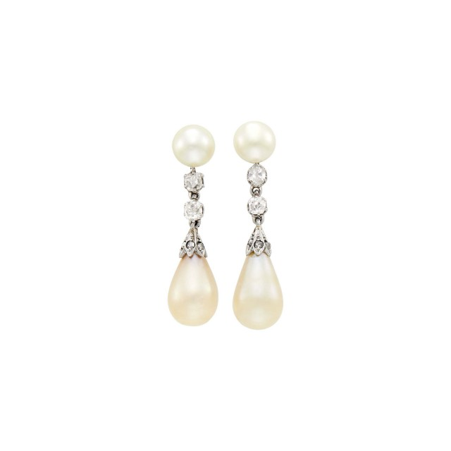 Pair of Antique Platinum, Gold, Natural Pearl and Diamond Pendant- Earrings