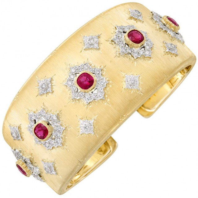 Two-Color Gold, Ruby and Diamond Cuff Bangle Bracelet, Buccellati