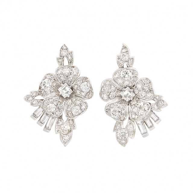 Pair of Platinum and Diamond Flower Earrings