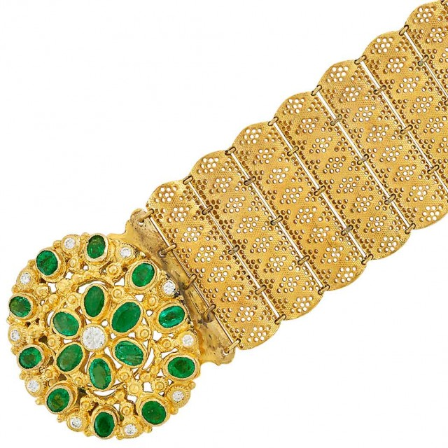 Wide Gold Bracelet with Emerald and Diamond Clasp