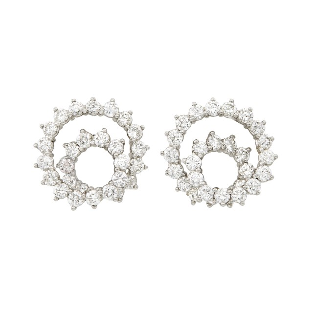 Pair of Platinum and Diamond Spiral Earclips