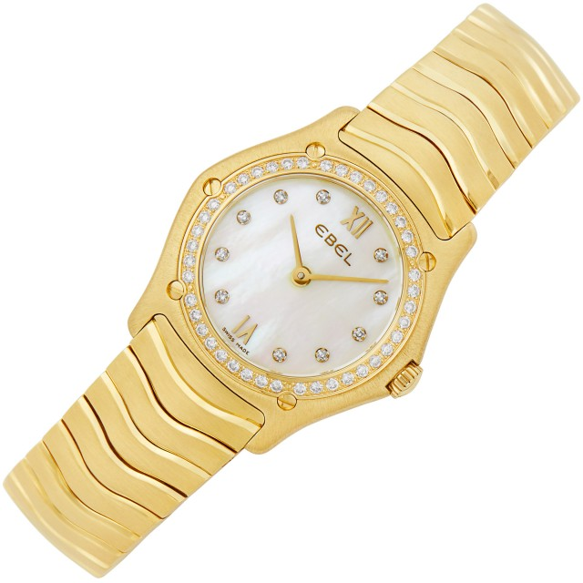 Gold, Mother-of-Pearl and Diamond 'Wave' Wristwatch, Ebel