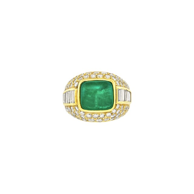 Gold, Cabochon Emerald and Diamond Ring