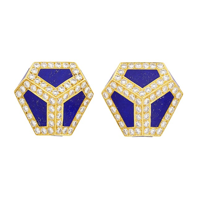 Pair of Gold, Lapis and Diamond Earclips