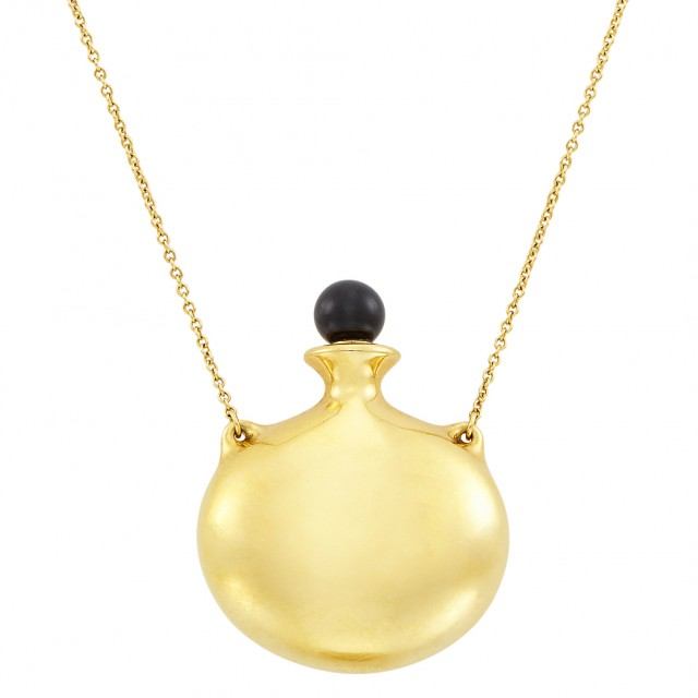 Gold and Black Jade Perfume Bottle Pendant-Necklace, Tiffany & Co., Elsa Peretti