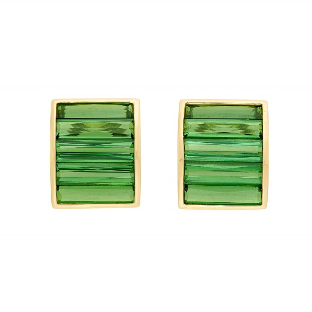 Pair of Gold and Tourmaline Half-Hoop Earclips