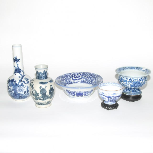 Group Of Five Chinese Blue And White Glazed Porcelain Bowls And