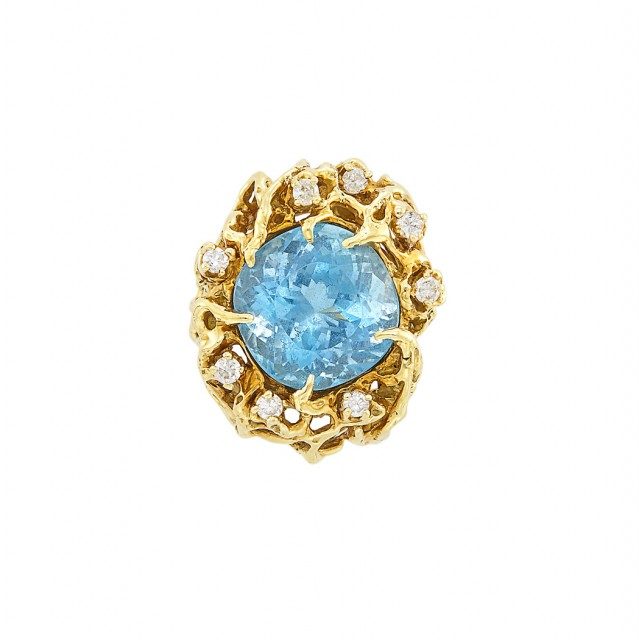 Gold, Aquamarine and Diamond Ring, Attributed to Arthur King
