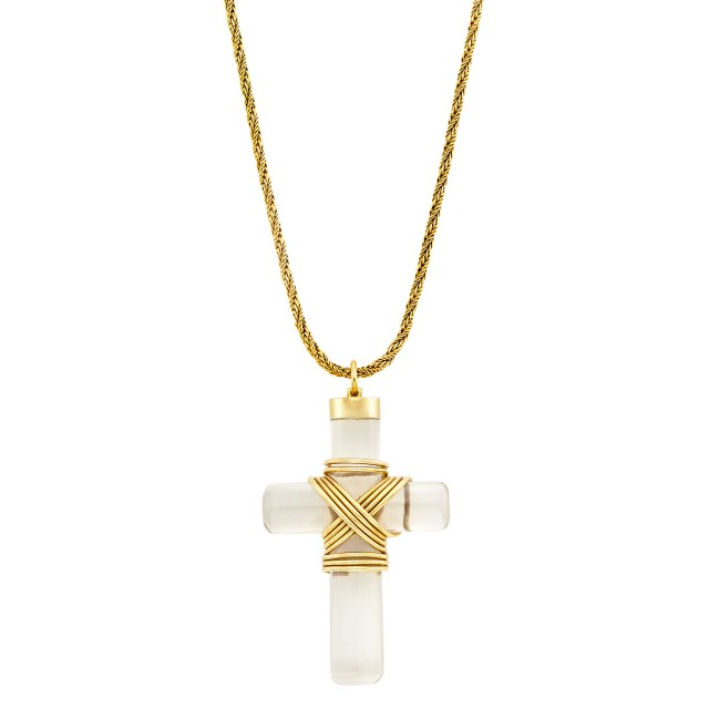 Gold and Rock Crystal Cross Pendant, Cartier, with Gold Chain Necklace
