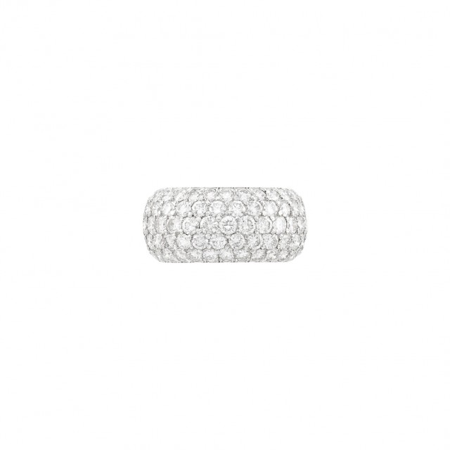 Wide Platinum and Diamond Band Ring
