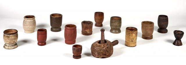 Group of Thirteen Carved and Turned Wood Mortars