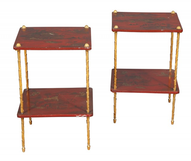 Pair of Red Lacquer and Gilt-Metal Two Tier Tables