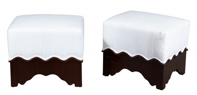 Pair of Mahogany and White Fabric-Upholstered Stools