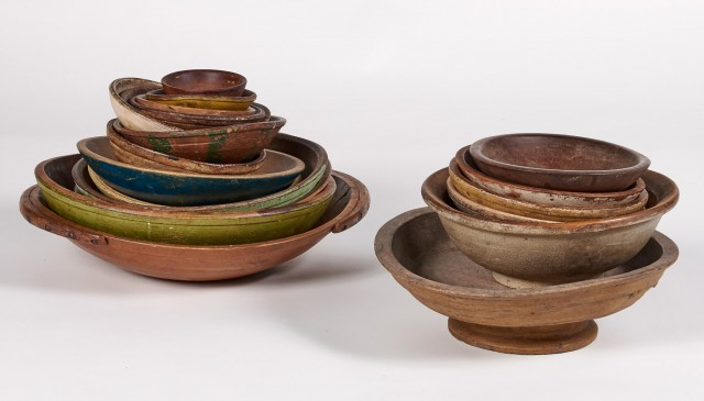 Group of Approximately Twenty Turned Wood Dishes and Bowls