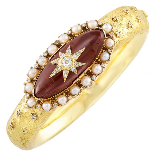 Gold, Cabochon Garnet, Cultured Pearl and Diamond Bangle Bracelet