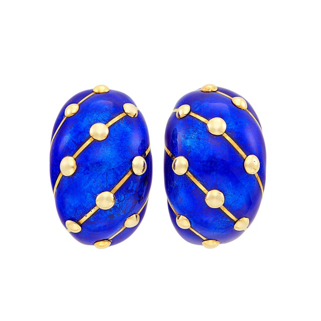 Pair of Gold and Blue Paillonné Enamel Earclips, Tiffany & Co., Schlumberger, France