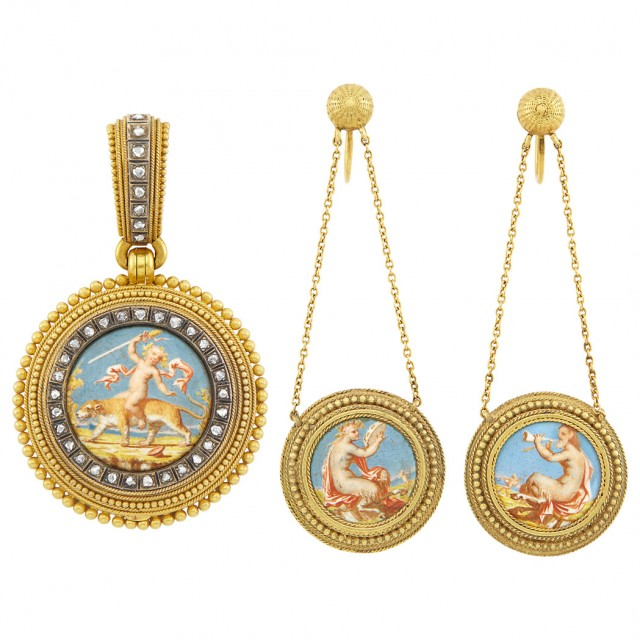 Pair of Neoclassical Gold, Silver, Painted Enamel and Diamond Pendant-Earclips and Pendant, Attributed to Fontenay
