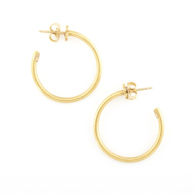 Pair of High Karat Gold Hoop Earrings, Linda Lee Johnson