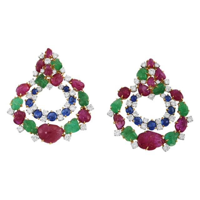 Pair of Gold, Platinum, Diamond, Sapphire, Carved Ruby and Emerald Pendant Earrings, David Webb