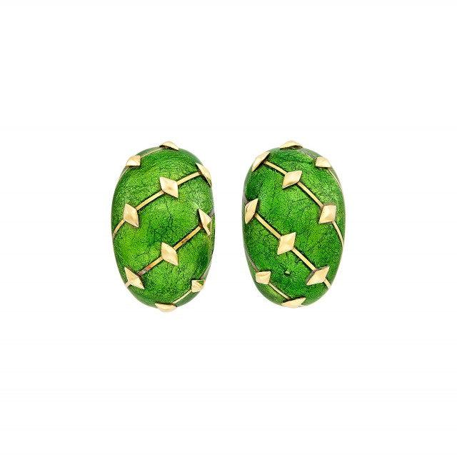 Pair of Gold and Green Paillonné Enamel Earclips, Tiffany & Co., Schlumberger, France