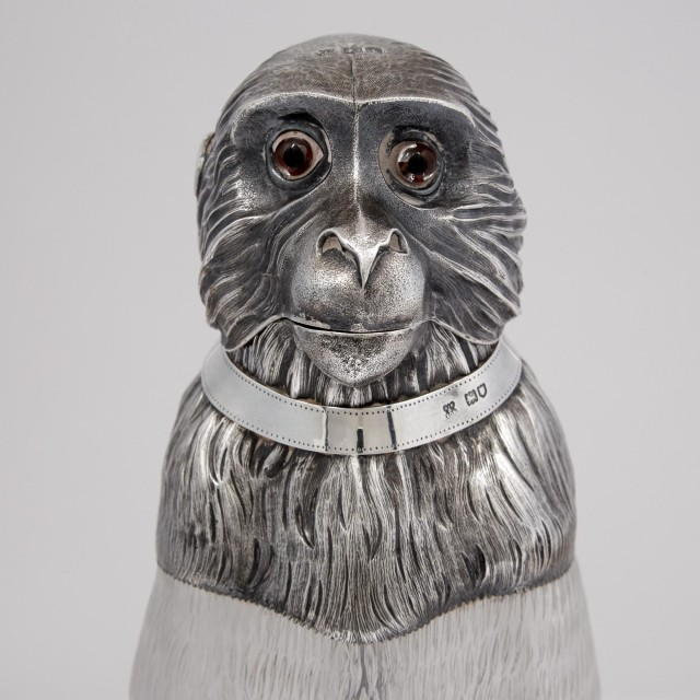 Rare Edwardian Sterling Silver Mounted Glass Novelty Monkey-Form Claret Jug
