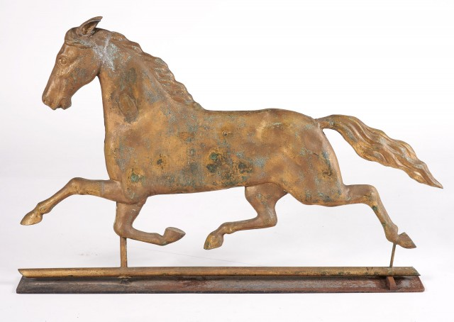 Gilt Copper Hollow Body Running Horse Weathervane