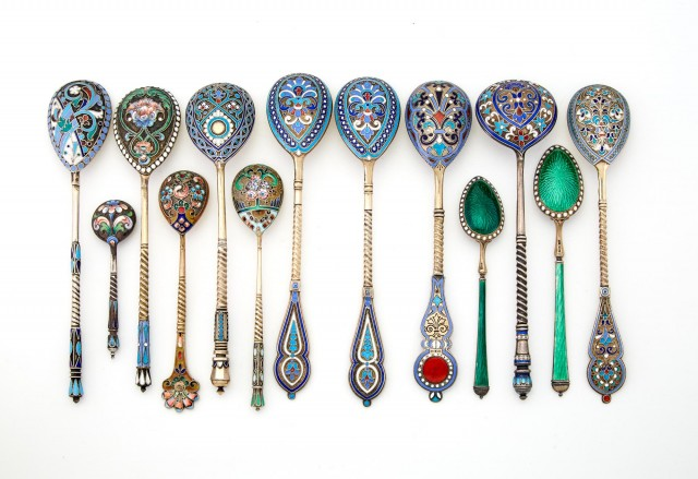 Group of Twelve Russian Silver and Enamel Spoons