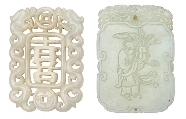 Two Chinese Pale Celadon Jade Pendants