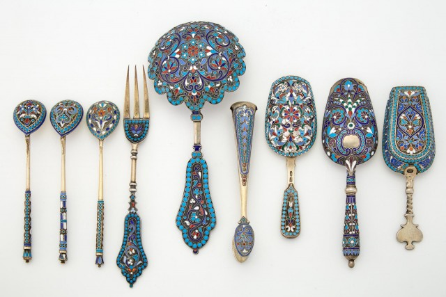 Group of Nine Russian Silver and Enamel Utensils