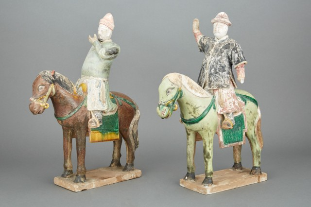 Pair of Chinese Painted Pottery Figures of Horses and Riders