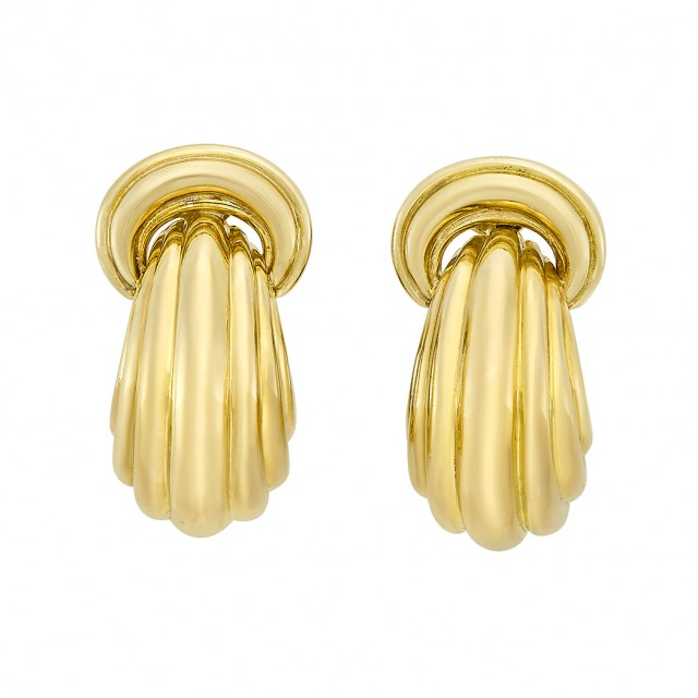 Pair of Gold Doorknocker Hoop Earrings, David Webb
