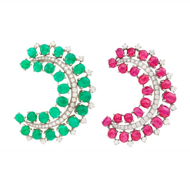 Pair of Platinum, Low Karat Gold, Cabochon Ruby and Emerald and Diamond Clips