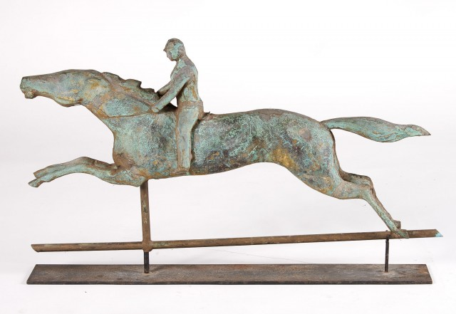 Copper Horse and Jockey Weathervane